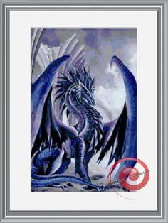 Ice Dragon Cross Stitch Pattern Instant by KustomCrossStitch