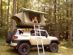 FJ roof top tent camping