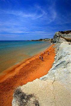 Xi beach in Kefalonia Island of Hellas