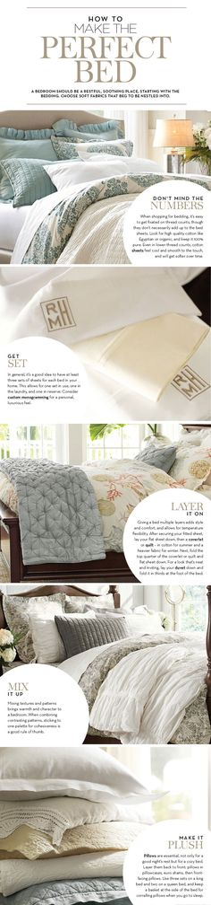 How to Make the Perfect Bed.... Pottery Barn.... Tip: it's a good idea to have 3 sets of sheets for every bed in your house....