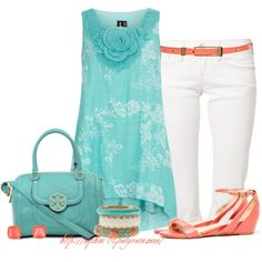 """""""Mint and Coral"""" by sophie-01 on Polyvore"""