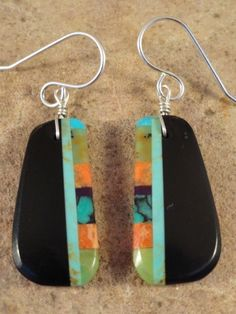 Ronald Chavez Kewa Jet Turquoise Apple Coral Earrings