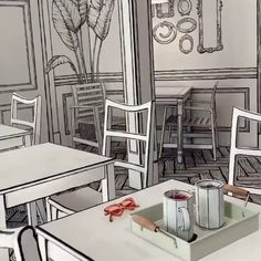 The trippiest interior design I have seen in my life. cafe ( in Seoul, Korea. Video by Loft Interior, Interior Desing, Interior Design Videos, Drawing Interior, Interior Ideas, Café Design, Yanko Design, 2020 Design, Graphic Design
