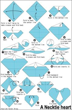 Origami diagram of the Necktie heart by Fumiaki Shingu. Here you will find how to fold origami Necktie heart by Fumiaki Shingu. Origami Design, Instruções Origami, Origami And Kirigami, Origami Paper Art, Diy Paper, Paper Crafts, Heart Origami, Simple Origami, Origami Heart Instructions