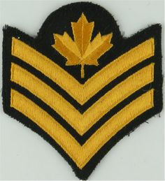 Sergeant (Maple Leaf Over 3 Chevrons) - Canada Yellow On Dark Green NCO or Officer Cadet rank badge for sale Royal Marines, Royal Air Force, Armed Forces, Badges, Chevron, Canada, Throw Pillows, Dark, Yellow