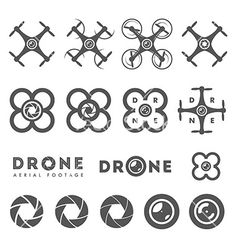 Set of aerial drone footage emblems and icons vector - by ivanbaranov on VectorStock®