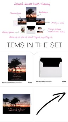 """""""Tropical Sunset Beach Wedding"""" by bethany-ransom ❤ liked on Polyvore featuring art and zazzle"""