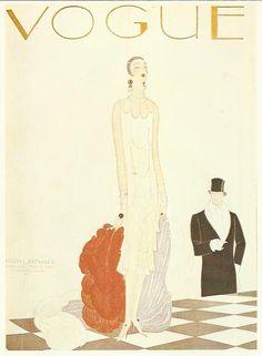 Vogue magazine cover 1925 by Benito Lady Man by OLDBOOKSMAPSPRINTS