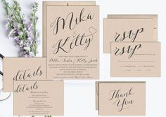 Rustic Wedding Invitation Suite Printable Kraft, Vintage wedding invitation set, rsvp card, details card, thank you card, affordable wedding invitation