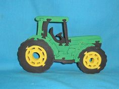Green Tractor Scroll Saw Wooden Puzzle
