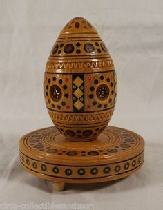 Russian Egg Carved Inlaid Wood w/ Base Sticker Easter Collectible Hand Made