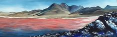 Laguna Colorada, Bolivia - Original Acrylic Abstract Landscape Painting on Canvas
