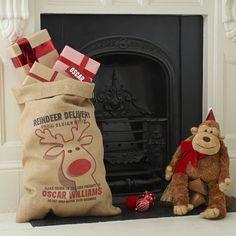 Personalised Rudolph Christmas Sack. Personalized Christmas Gift Ideas // Personalized Christmas Decorations // Personalized Santa Sack // Christmas Interiors