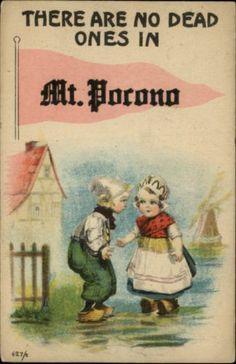 Uhhh..what? Mt. Pocono PA Pennant Flag Greeting featuring 2 Dutch Children c1910 Postcard | eBay