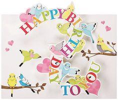 Pop-up Birthday Card / Parakeet & Cockatiel - Boutique SWEET BIRDIE