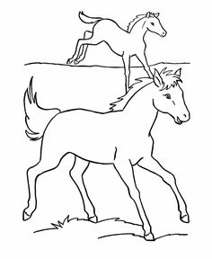 horse coloring page horses run in the pasture