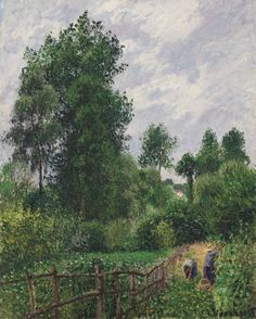 Camille Pissarro 'Paysage avec peupliers, temps gris, Eragny'. Signed and dated 'C. Pissarro. 99' (lower right). Oil on canvas. Painted in 1899.