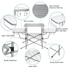 Foldable Camping Outdoor Kitchen Grilling Stand BBQ Table Material: Aluminum, steel, MDF Product dimensions: x x ( L x W x H ) Net weight: 17 lbs Weight capacity of surface board: 44 lbs Weight capacity of two side boards: 22 lbs Folding Bbq, Folding Camping Table, Camping Grill, Grilling, Portable Stove, Grill Table, Steel Frame Construction, Steel Racks, Low Shelves