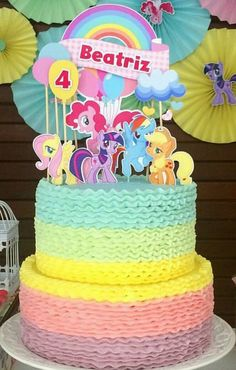 Pastel My Little Pony My Little Pony Party, My Little Pony Pinata, Cumple My Little Pony, My Little Pony Characters, Beautiful Birthday Cakes, Little Poney, Edible Cake Toppers, Unicorn Birthday Parties, Party Cakes
