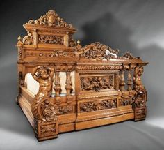 A bedstead from an Impressive American Renaissance Carved Oak Bedroom Suite in the Henry II Taste, c., New York Bed Furniture, Unique Furniture, Furniture Design, Pallet Furniture, Furniture Ideas, Smart Furniture, Modular Furniture, Furniture Showroom, Furniture Logo