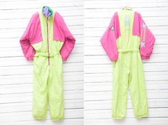1980s Neon Green and Pink Colors Skirwear Onepiece by CoverVintage, $69.00