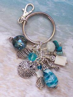 Sand Dollar Keychain, Sea Life Keychain, Key Chain, Bag / Purse Charm, Tote Bag Charm, Bag Jewelry, Beach Wedding Favors, Gifts for Her