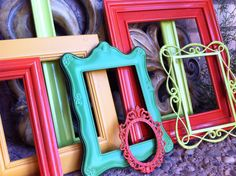 Vintage Frames, Lime, Pinocchio, Funky Home Decor, Bright Frames, Upcycled. Etsy.