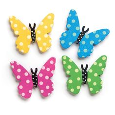 Embellish Your Story Butterfly With Dots Magnets - Set of 4 Assorted by Roeda Butterfly Wall Art, Paper Butterflies, Butterfly Crafts, Flower Crafts, Paper Flowers, Biscuit, Butterfly Decorations, Craft Work, Your Story