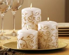 Ivory & Gold Glitter Pillar Candle Trio Set w/ Tray CHRISTMAS Holiday Home Decor  Offered by #BlueCarbuncle