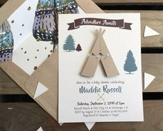 Adventure Awaits Baby Shower Invitation TeePee & Feathers BOHO Chic by kandvcrafts