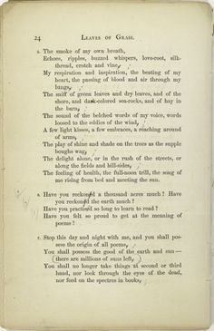 """Leaves of Grass"" is a poetry collection by the American poet Walt Whitman. The above are verses from the collection."