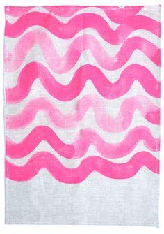 Pink Wave Tea Towel