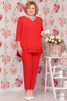 Костюм Ninele, красный (модель 5517) — Белорусский трикотаж в интернет-магазине «Швейная традиция»