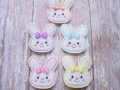 Hey, I found this really awesome Etsy listing at https://www.etsy.com/listing/174284439/bunny-felt-appliques-bunny-embroidered