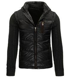 Pánska prešívaná čierna bunda. Bez kapucne. Zapínanie na zips. Svetrové  rukávy. Tri 4864bc5abd7