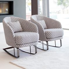 """Martin Daniel Interiors on Instagram: """"Some things are better in two's. We love these chairs in this grayscale check pattern. Visit our showroom to discover all of our custom…"""" Furniture Making, Showroom, This Is Us, Armchair, Chairs, Good Things, Interiors, Luxury, Check"""