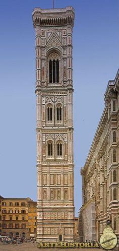 Campanil diseñado por Giotto en Florencia. En realidad pertenece al s.XIV.