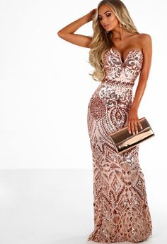 2bd8fa6de83c Out Of This World Rose Gold Sequin Strapless Maxi Dress | Pink Boutique  Strapless Dress Formal