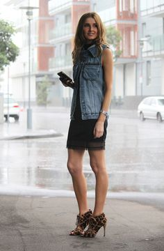 Casual Summer Denim Vest Black Dress Leopard Heels Boots