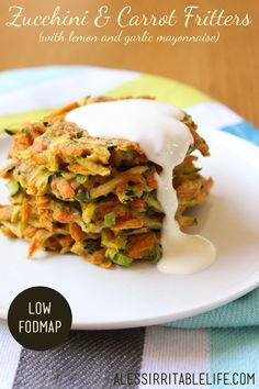 Zucchini and Carrot Fritters (with a low FODMAP lemon and garlic mayonnaise) | A Less Irritable Life