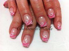 Pink and White Abstract by ChelseasNails - Nail Art Gallery nailartgallery.nailsmag.com by Nails Magazine www.nailsmag.com #nailart