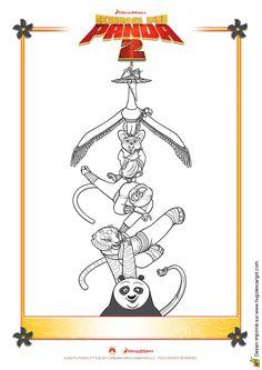 Coloriage des personnages du dessin animé Kung-Fu Panda 2.
