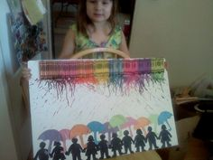 100 days of school project - Melted Crayon Rain