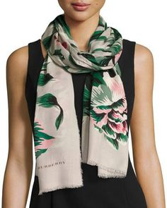 BURBERRY Floral Wool & Silk Scarf, Emerald/White. #burberry #