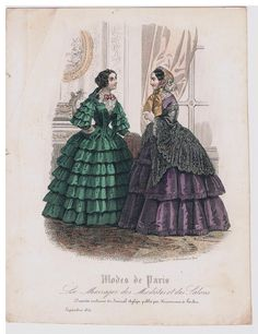 XIX Century - Unknown Source - Fashion Plate, September 1854 - A small but fine, hand colored engraving from Modes de Paris / Aglaja. With a visit scene of two ladies in an interior. They carry both a crinoline in this period is still relatively modest in size.