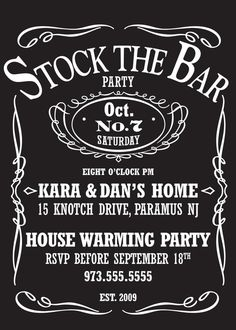Stock The Bar Party Invite by peprmetpat on Etsy, $12.00
