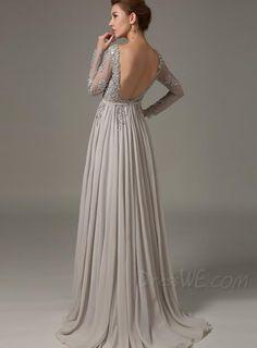 Stylish Long Sleeves Backless Beading Applique A-Line Sweep/Brush Train Evening Dress 10982723 - Evening Dresses 2014 - Dresswe.Com