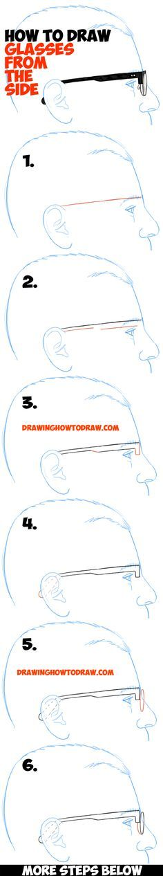 How to Draw Glasses on a Person's Face from the Side Angle View (Profile) easy steps drawing lesson