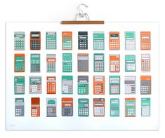 Tweed Tom has created this fantastic 5-color silkscreen print featuring calculators. Individual calculators also available as smaller prints