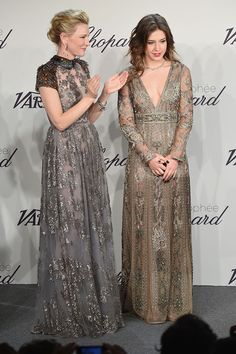 Cate Blanchett and Adele Exarchopoulos in stunning Valentino gowns at the Chopard Gala in Cannes.